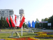 Металлоконструкция Костер с флаговыми полотнищами