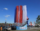 Уличные флагштоки из алюминия с флагами расцвечивания без символики