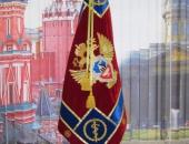 Знамя ФСКН Алтайский край на напольной подставке, дерево темный бук