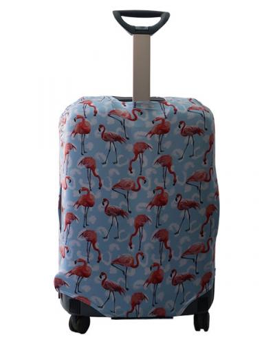 Чехол на чемодан Фламинго синий