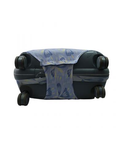 Чехол на чемодан голубой с сине-желтым рисунком