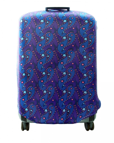 Чехол на чемодан синий с красно-голубым рисунком