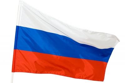 Флаг России на древке