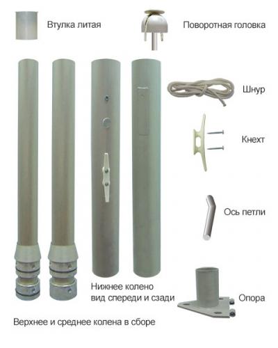 Стандартная комплектация флагштока из алюминия 8-9 метров