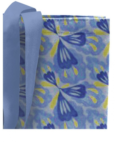 Сумка голубая с сине-желтым рисунком