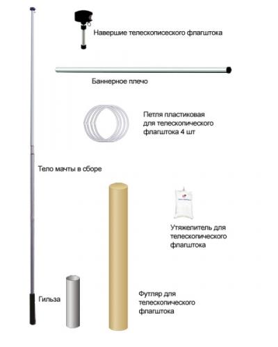 Комплектация телескопического флагштока
