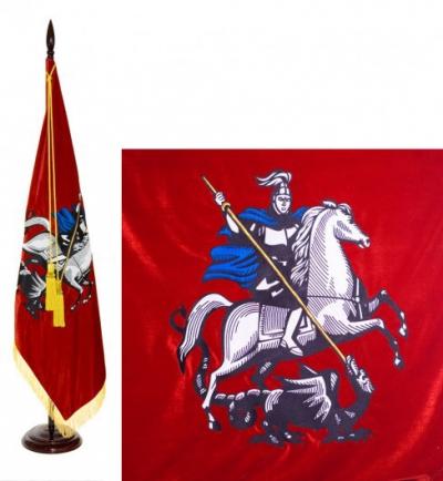 Флаг города Москвы с бахромой бархат Т602